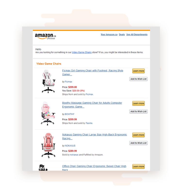 behavioural email marketing at amazon